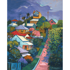Passing Storm Jay St Red Hill 38x30cm